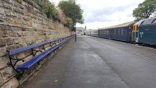 A very long bench at Scarborough railway station