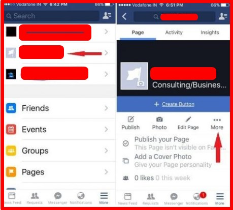 how to delete a page on facebook on iphone