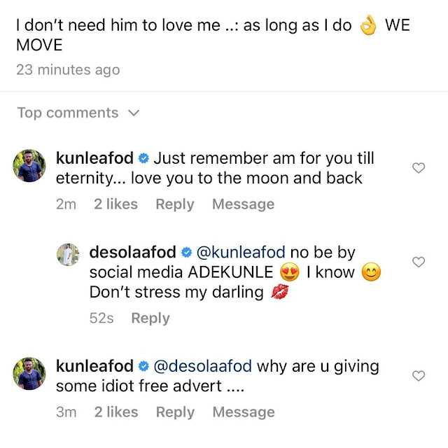 I dont need him to love me- Kunle Afod wife, Desola slams a Troll who said her husband has another Pregnant wife in Ibadan