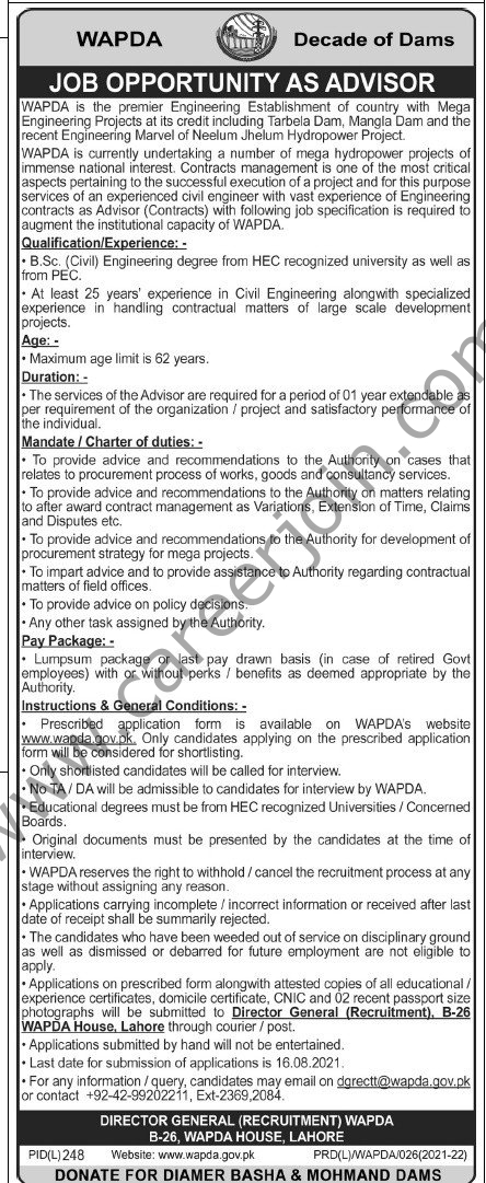 www.wapda.gov.pk Jobs 2021 - WAPDA Pakistan Jobs 2021 in Pakistan