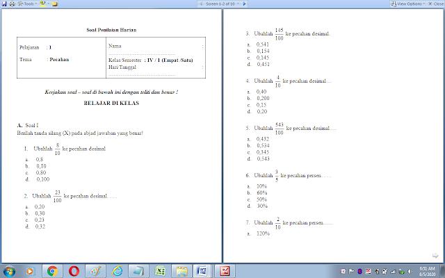 Soal ulangan harian matematika kelas 4 sd: Pecahan