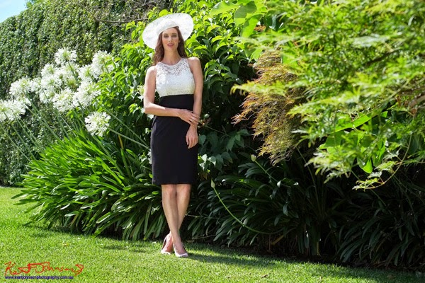 Race day or Mother of the bride fashion. A country garden style fashion photoshoot in suburban Sydney.