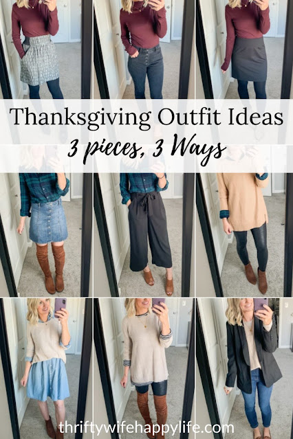 Thanksgiving outfit ideas with 3 pieces styled 3 ways