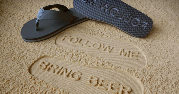 Follow Me, Bring Beer flip flops