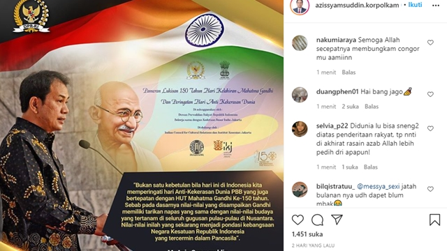 Azis Syamsuddin Kaget Akun Instagramnya Dihujani Puluhan Ribuan Komentar
