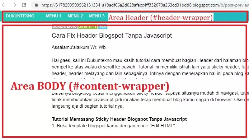 Cara Fix Header Blogspot Tanpa Javascript