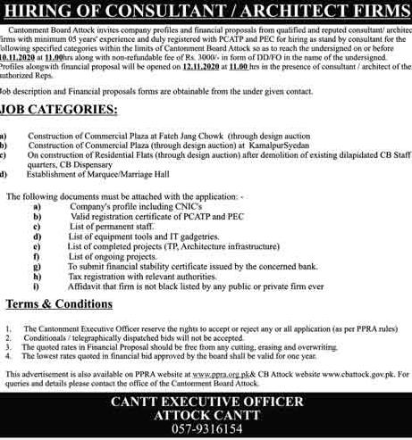 Cantonment Board Job Advertisement in Pakistan Jobs 2020-2021