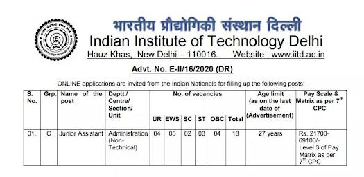 IIT-Delhi-Junior-Assistant
