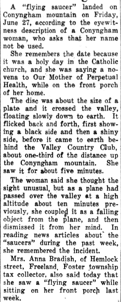 Flying Saucer Lands On Conyngham Mountain - The Plain Speaker (Hazleton, Pennsylvania) 7-8-1947