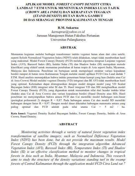 Aplikasi Model Forest Canopy Density Citra Landsat 7 ETM [Paper]