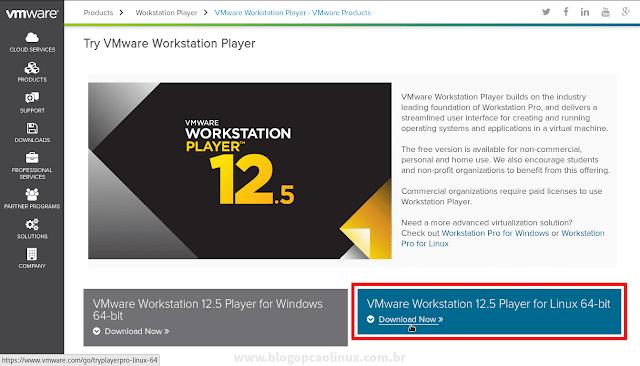Página de download do VMware Workstation Player em 20 de dezembro de 2016