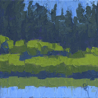 painting marsh landscape green abstract knife