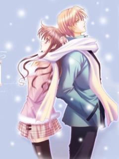 Cute Animated Love Couple Wallpaper