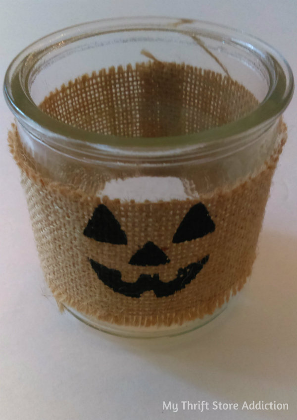 Friday's Find #144 mythriftstoreaddiction.blogspot.com Fabulous finds of the week including this burlap jack-o-lantern votive