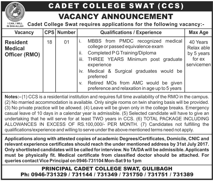 Resident Medical Officer Jobs in Cadet College Swat July 2017