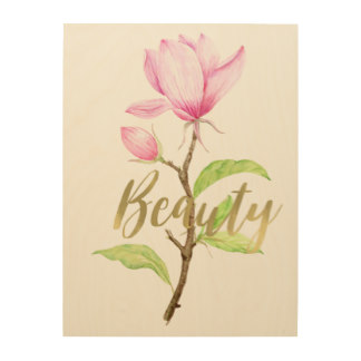 Wall Art for Mother's Day - Pink Magnolia Flower Beauty Wood Print