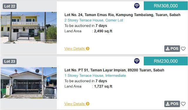 Rumah di Tuaran Sabah di Lelong bermula pada harga RM230 ribu dan RM308 ribu