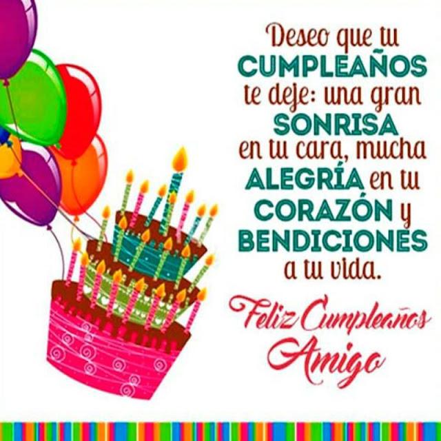 Tarjeta Feliz cunpleaños con globos, tarta y dedicatoria
