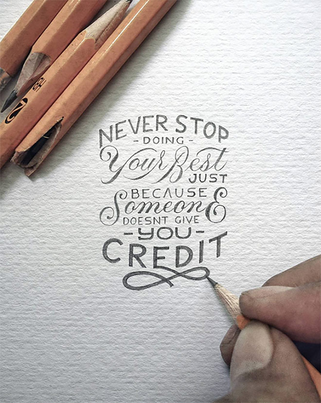 Inspirasi desain tipografi terbaik dan terbaru - Never Stop by Dexa Muamar