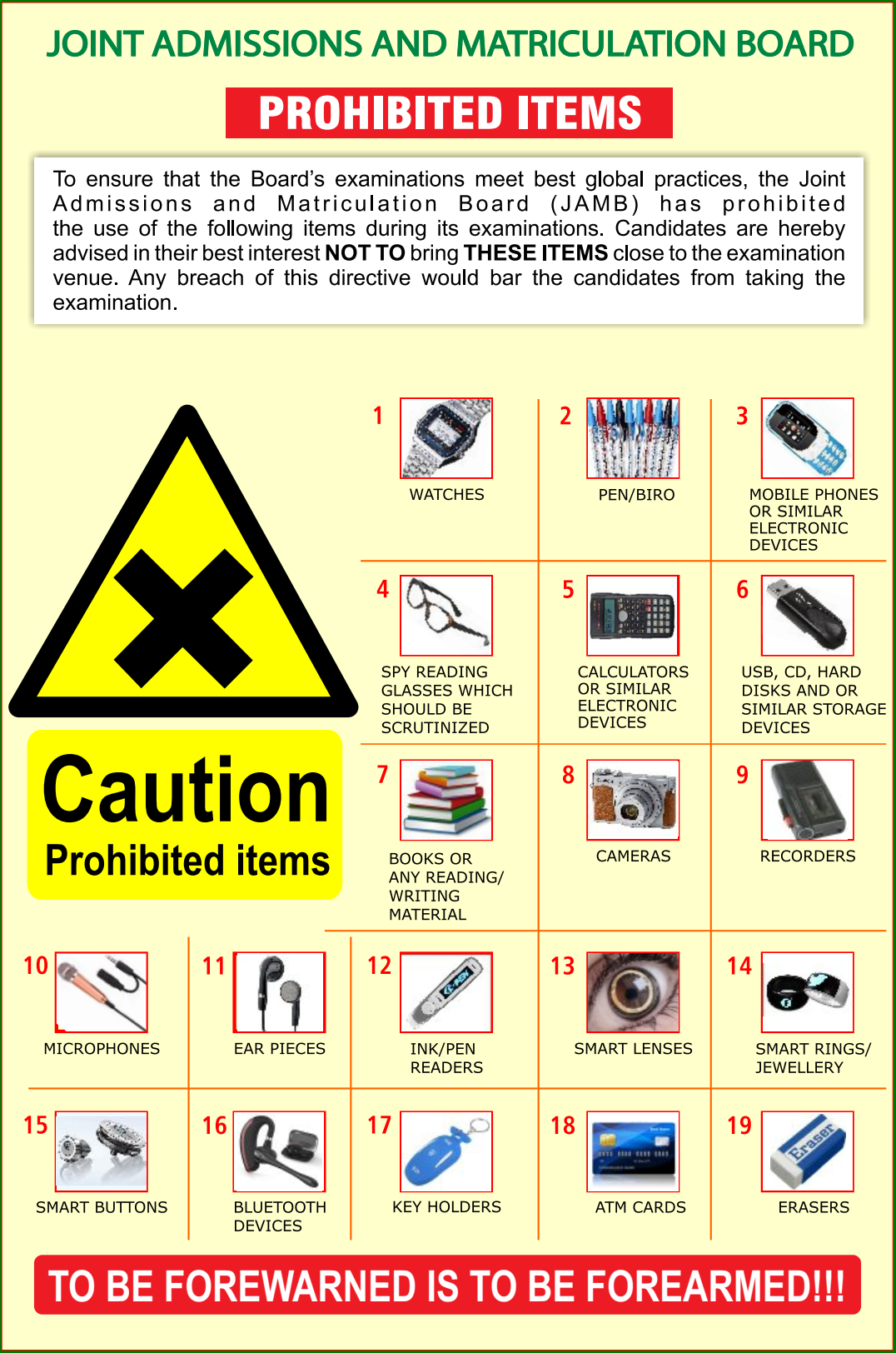 JAMB Malpractice Codes & Items Prohibited in Exam Halls