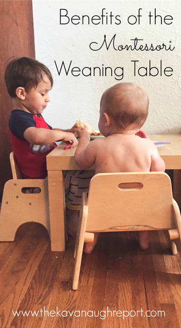 Montessori babies eat at small tables while still enjoying family means. The Montessori weaning table has many benefits for babies including promoting independence and cooperation among siblings.