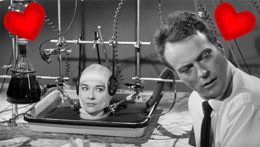 Virginia Leith and Jason Evers in The Brain That Wouldn't Die, 1962