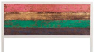 cabecero cama de matrimonio colores en forja y madera