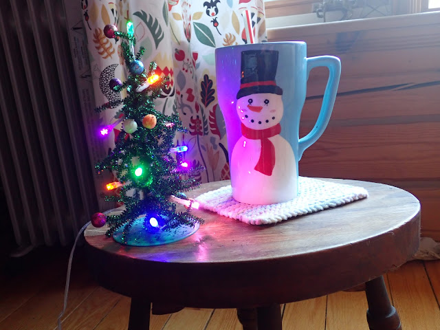 Tiny Lit Christmas Tree and Large Smiling Snowman Mug