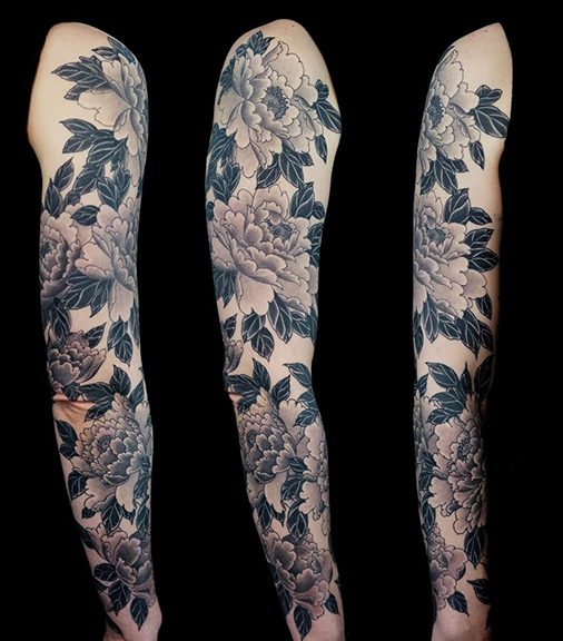 Jeff Srsic Peony Flower Tattoo Sleeve Black And Grey