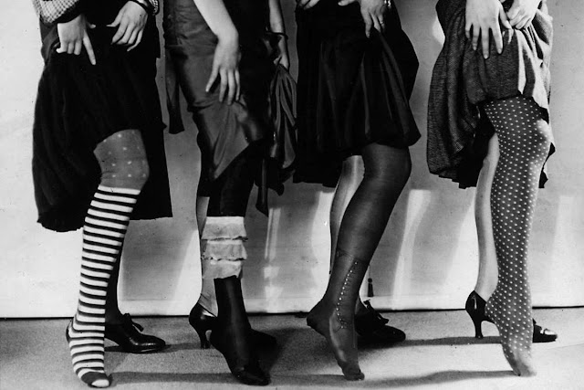 row of Patterned stockings