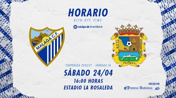 El Málaga - Fuenlabrada, el sábado 24 de abril a las 16:00 horas