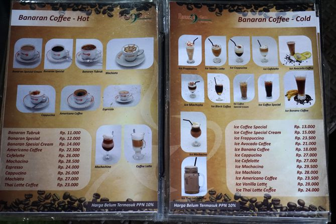 Daftar menu dan harga kopi di Kampoeng Kopi Banaran