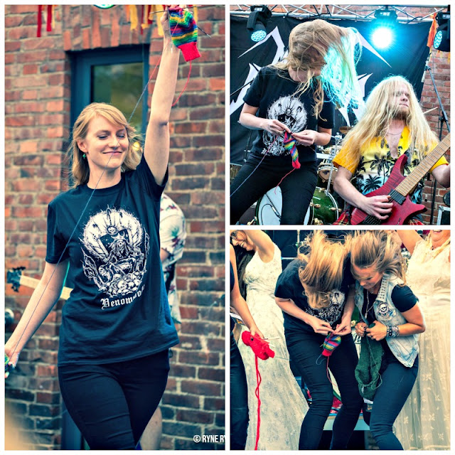A collage of three photos showing a young woman knitting a sock at a heavy metal knitting competition.  On the left, she is proudly walking onto the stage, her knitting held above her head (she is using Brightside yarn).  She is wearing black jeans and a black band t-shirt with a white logo on it.  On the right are two photos; the top one shows the woman standing next to a man in a yellow Hawaiian shirt playing a red electric guitar; she is still knitting her sock - and the bottom photo shows the young woman headbanging to the the music with another knitter whilst knitting her sock