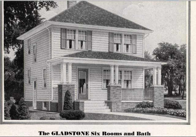 1932 Sears Modern Homes catalog image for Gladstone model, showing floorplan B