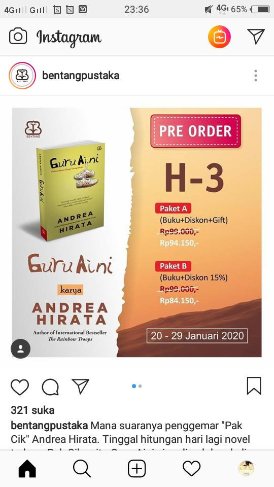 Andrea Hirata PO buku Guru Aini, Apa Kabar Guru Ratna?
