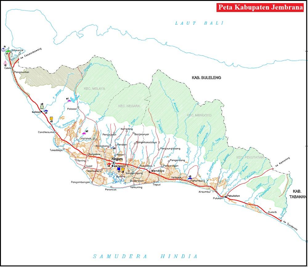 Peta Jalan di Kabupaten Jembrana