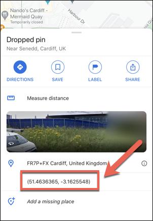 إحداثيات البرلمان الويلزي ، المملكة المتحدة ، كما هو موضح في تطبيق خرائط Google على iPhone.