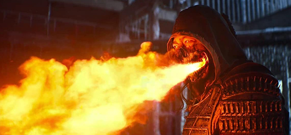 Scorpion (Hiroyuki Sanada) welds the fires of Hell to his advantage in MORTAL KOMBAT.