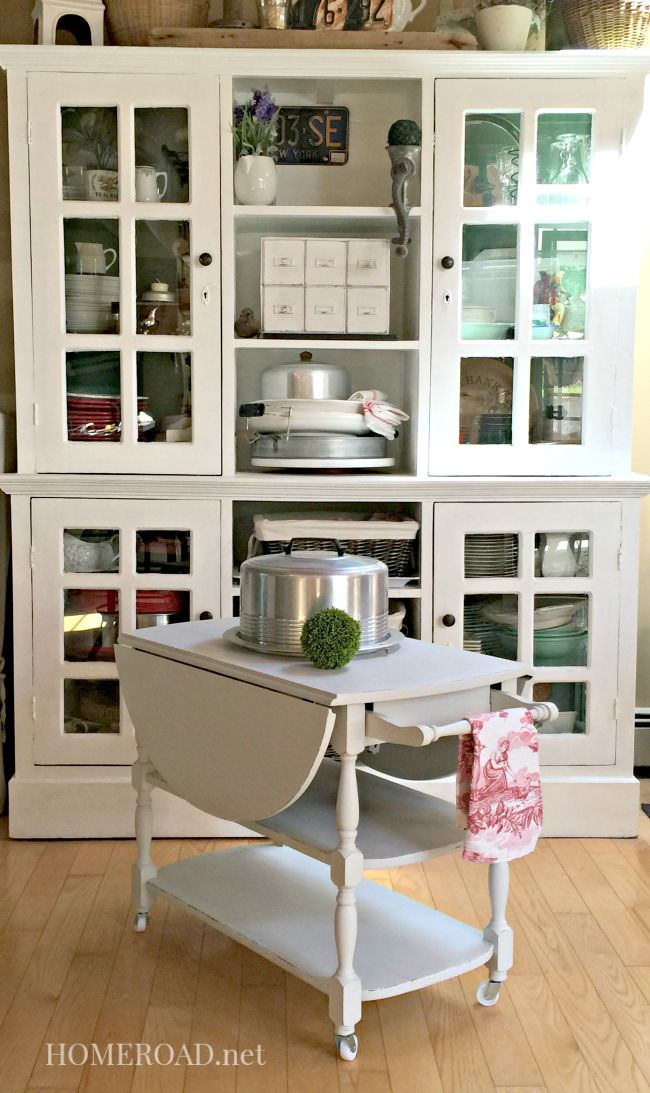 large hutch with rolling cart
