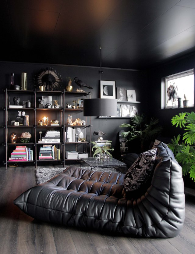 All black living room with Ligne Roset Togo