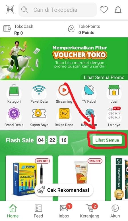 Buka menu Flash Sale Tokopedia