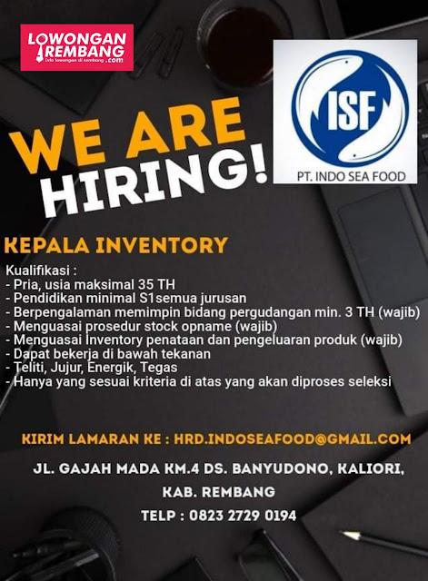 Lowongan Kerja Kepala Inventory PT Indo Sea Food Rembang