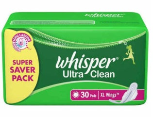 Whisper Ultra Clean XL Wings 30 Pads + Rs. 60 Freecharge Cashback