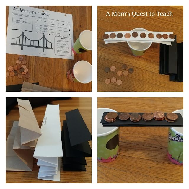 Bridge experiment instruction sheet and examples of different types of paper to build a bridge across two paper cups