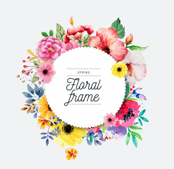We're Hiring Log in Register Watercolor spring floral frame Free Vector