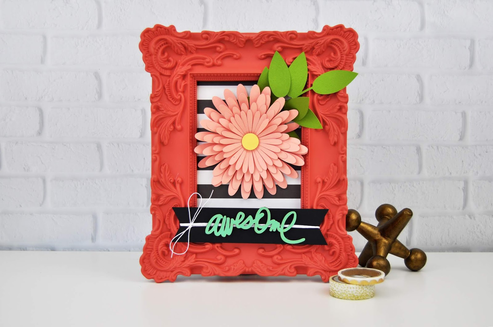 3D Flower Frame paper craft by Jen Gallacher sponsored by Scrapbook.com. #papercraft #frame #paperflower #jengallacher #scrapbookdotcom