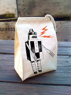 A little lark robot canvas lunch sack