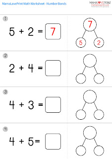 Mama Love Print 自製工作紙  - 數的分解與組合 - Level 1 (加減數)  Number Bonds Worksheet ( Parts and whole)  Kindergarten Math Worksheet Free Download