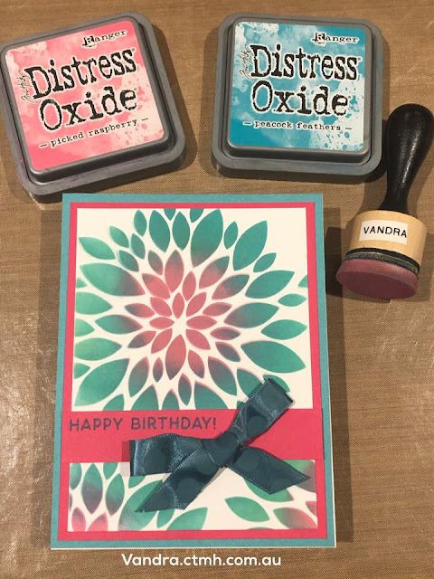 #CTMHVandra, Colour dare, stencils, Distress Oxide, Stamp of the Month, cardmaking, sponging, happy birthday, birthday card, peacock, Lagoon,