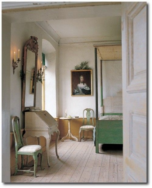 another small white painted desk in this charming gustavian style bedroom by lars bolander - Gustavian Style Furniture
